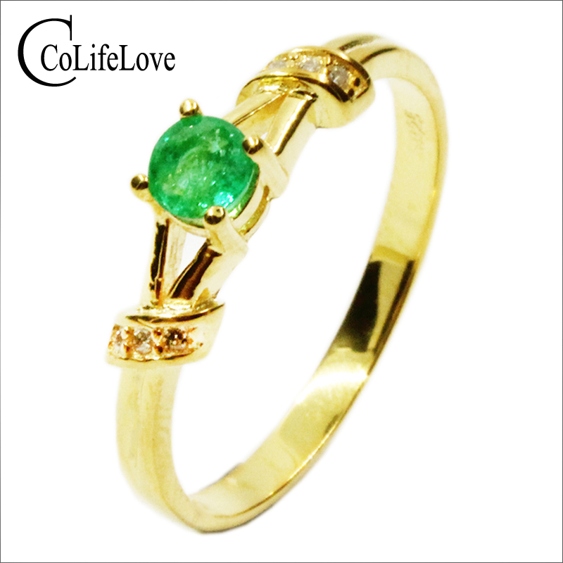 CoLife Jewelry 100% Natural Emerald Engagement Ring 4mm Round Colombia Emerald  Ring For Woman 925 Silver Emerald Jewelry