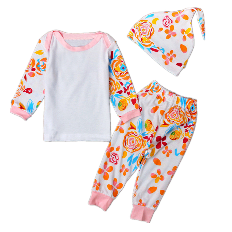 3PCS/Set baby clothing set long sleeve Cartoon fashion T-shirt+pants+hat Cotton Infant outfits newborn baby Girls clothes