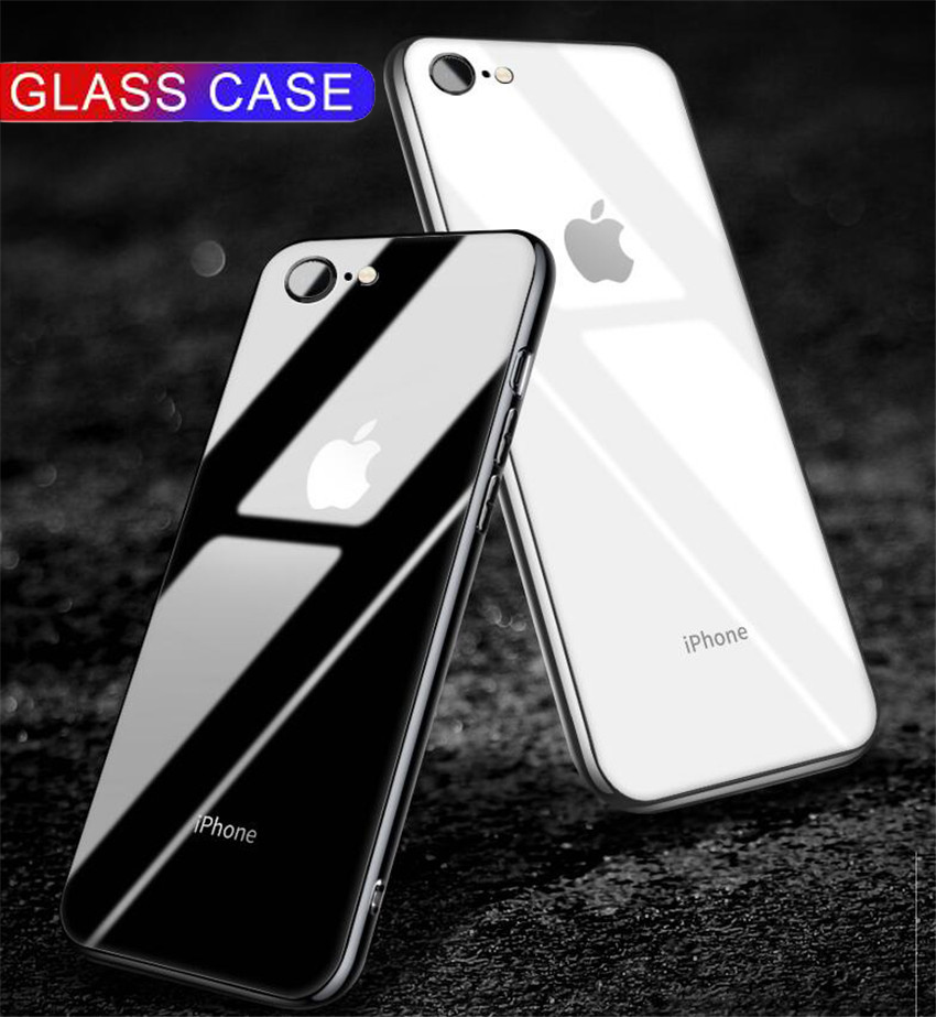 Luxury Glass Case For Apple Iphone 6 7 8 10 Plus X XS XR MAX Cover 7plus 8plus 6G 6S XSMAX Plating Mirror Glossy Cell Phone Case