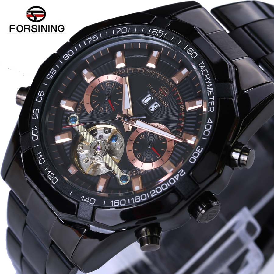2018 Forsining Mens Watches Top Brand Luxury Men Tourbillon Watch Automatic Mechanical Men Black Wrist Watch Relogio Masculino forsining fashion brand men simple casual automatic mechanical watches mens leather band creative wristwatches relogio masculino