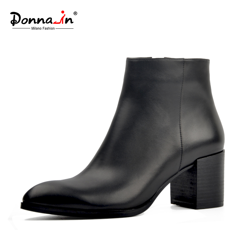 Здесь продается  Donna-in 2018 fashion Genuine leather ankle boots Pointed Toe thick heel  women boots inside zipper classic elegant ladies shoes  Обувь