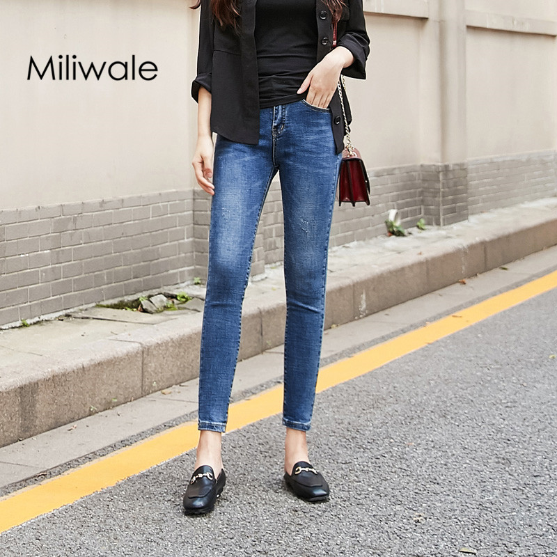 New arrival spring fashion women slim ankle length pants mid waist washed all match pencil pants bleached jeans J2003