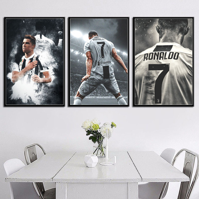 P133 Cristiano Ronaldo Sport Superstar Football Player Art Painting Silk Canvas Poster Wall Home Decor