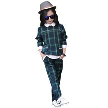 2017 New Children Girls England Style Plaid Clothing Suits Kids Shirts + Trousers Sets Spring & Autumn School Wear Girl Outfit