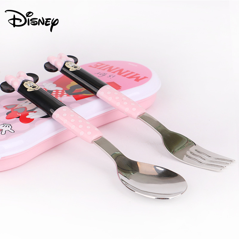 Disney Minnie Children Tableware 304 Stainless Steel Household Fork Spoon Portable Set Stainless Steel Children Tableware Set