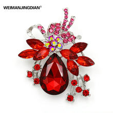 Factory Direct Sale Crystal Diamante and Red Blue Clear Acrylic Stones Bow Brooch Pins in assorted color(China)