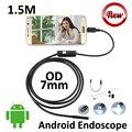 5 Pçs/lote 7mm lente Android USB Inspeção Endoscópio Endoscópio Camera 1.5 M IP67 À Prova D' Água Cobra USB OTG USB Andoird câmera 6LED