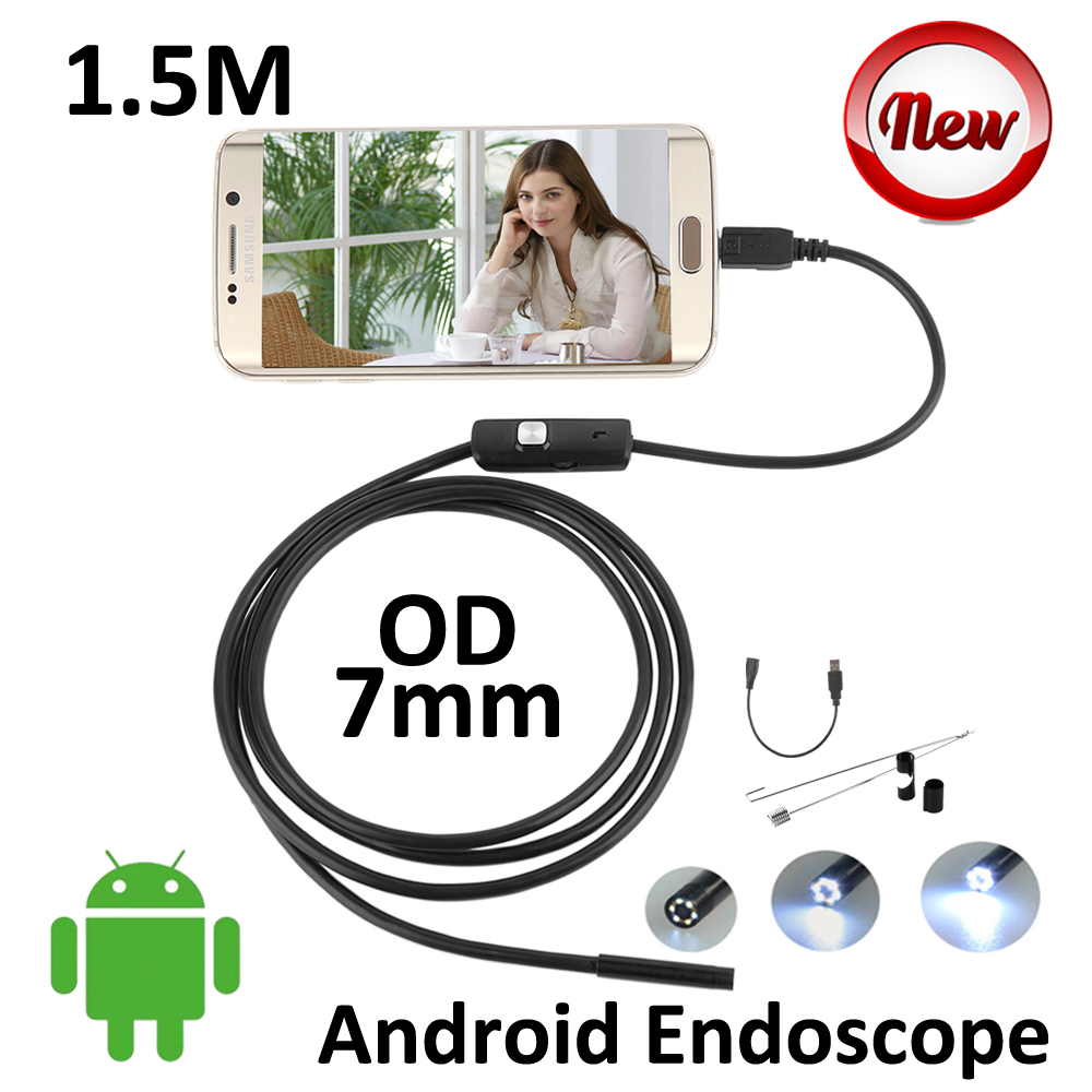 5PCS/lot 7mm lens Android USB Endoscope Camera 1.5M IP67 Waterproof Snake USB Inspection Borescope Andoird OTG USB Camera 6LED 2m android otg usb endoscope camera 7mm lens ip67 waterproof snake tube inspection android phone pc usb dection borescope camera