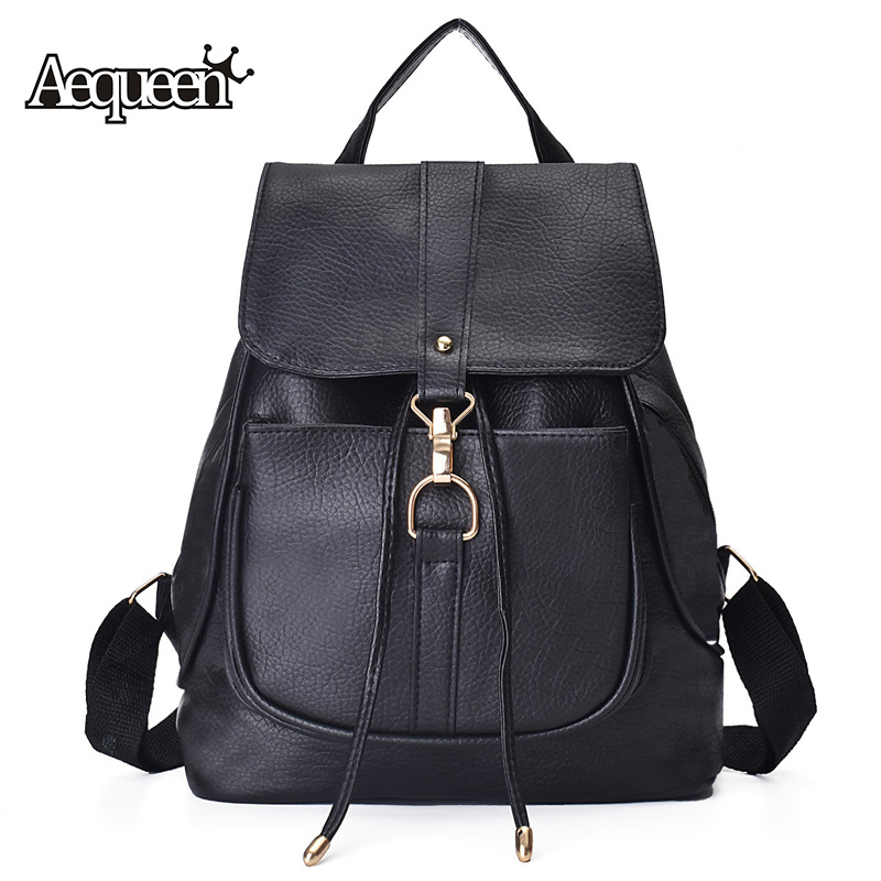 AEQUEEN Leather Backpack Women Korean Style College School ...