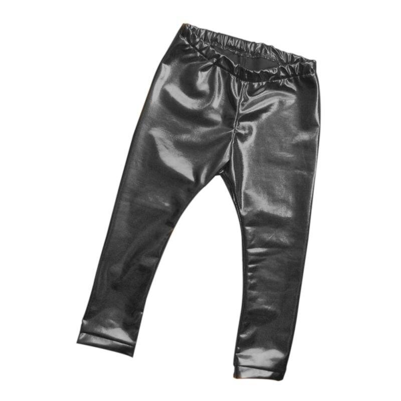 Kids Girls Leather Bronzing Pants Leggings Skinny Elastic Waist Child Baby Casual Solid Black Warm Trousers 2017 New HOT