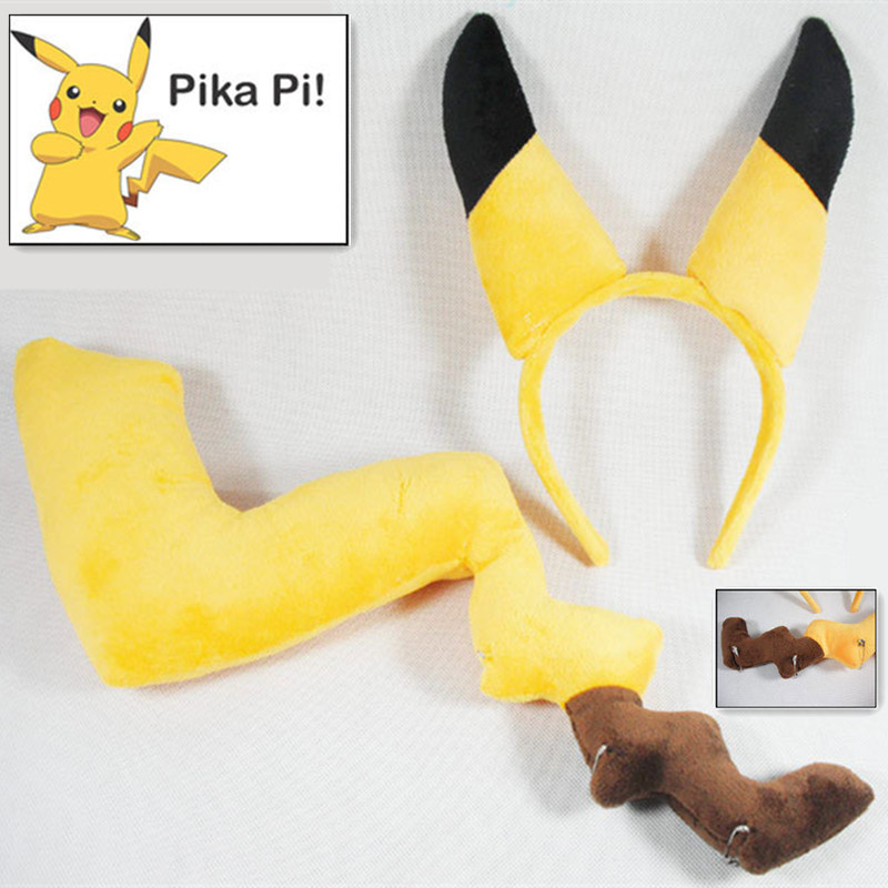 Japan Hot Anime Headwear Pokemon Pikachu Cosplay Fox Ears Nekomimi Tails Prop Set Cartoon Lolita Costume Free Shipping