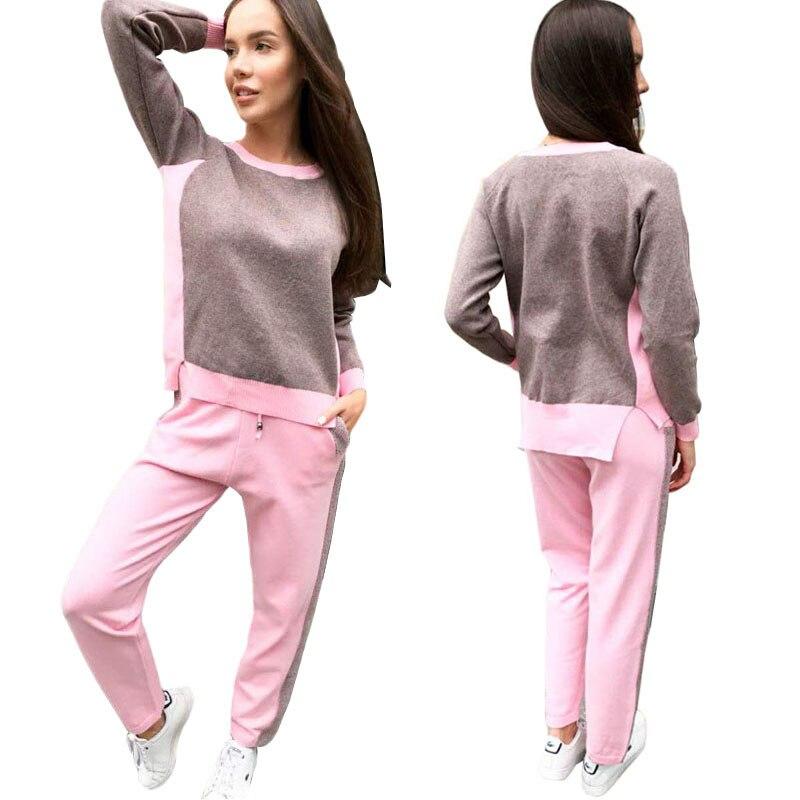 f5680b28cd265 Gris pink Chandail Tricoté Costume Survêtement Ensemble Rose Pantalon  Nouveau Pièces Rayé 2 grey Femmes blue ...