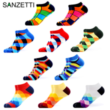 SANZETTI 10 Pairs/Lot Mens Casual Combed Cotton Socks Summer Breathable Hip Hop Ankle Harajuku Creative Plaid Dress