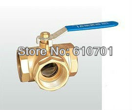T Type T-Port or L Type L-Port DN50 2BSP Female Full Port Brass Tee Ball Valve Three Way Pipe Fittings Handle Locking,Leakproof female to female f f 1 2 pt threaded yellow lever handle brass ball valve