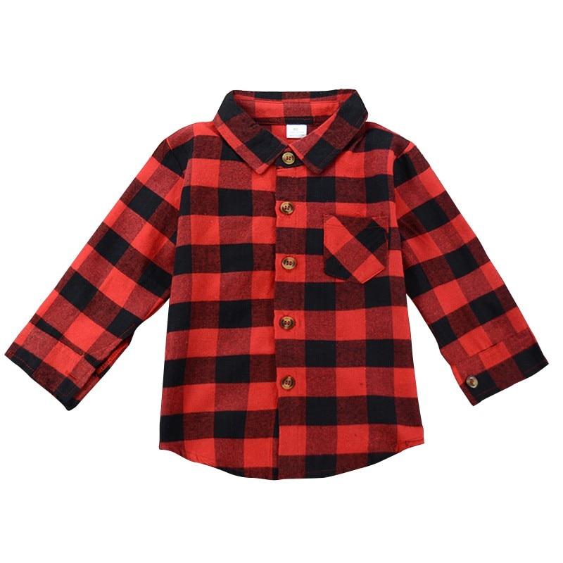Kids Baby Boys Girls Plaid   Blouse   Long Sleeve Red Plaids   Shirt   Autumn Children Pocket Clothes Outfit sz02