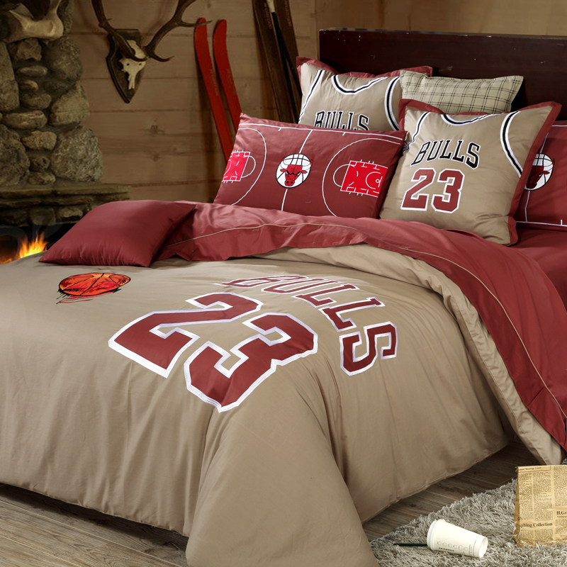 Good Quailty Home Textile Bull Team Basketball Bedding Sets Fans 100 Cotton Bedroom Sets Duvet Cover Flat Sheet And Pillowcases