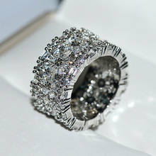 Luxury Shiny Zircon Stone Silver Rings For Women Promise Engagement Wedding Band Fashion Female Jewelry
