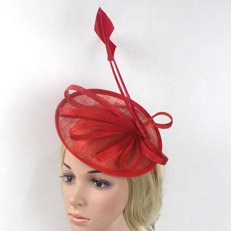 5696d94e181cc Arrow Feather Fascinators Hat Flower Sinamay Headband Pink Red Navy Wedding  Party Hair Accessories Elegant Bride Fascinator -in Women s Hair Accessories  ...