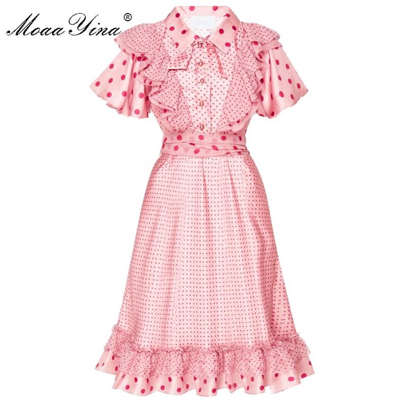 MoaaYina แฟชั่นชุดเดรสฤดูร้อนผู้หญิง Flare แขน Ruffles Wave point Lace up Casual Holiday Elegant สีชมพู-ใน ชุดเดรส จาก เสื้อผ้าสตรี บน   1