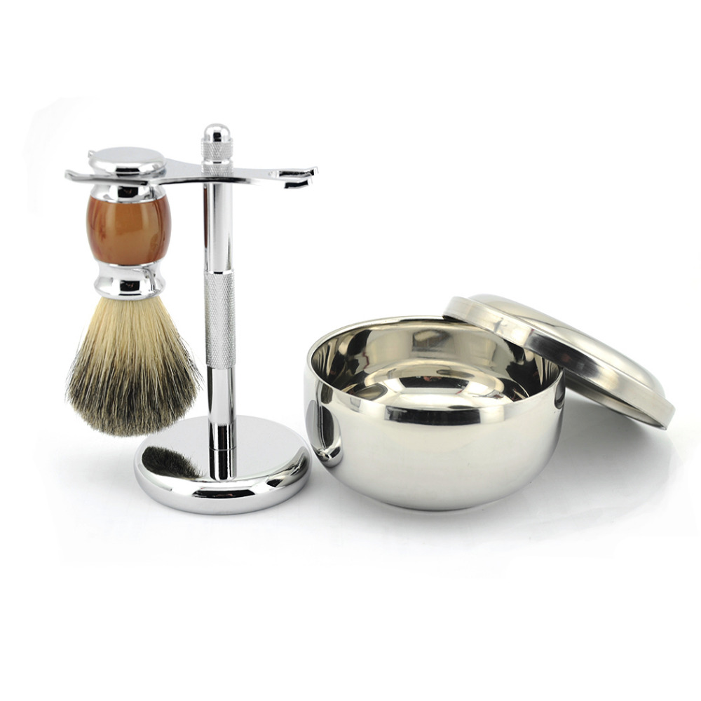 ZY Baeber Best Pure Badger Hair Shaving Beard Brush Set + Shaving Soap Mug Bowl + Safety <font><b>Blade</b></font> Razor Stand Holder Men Shave Kit