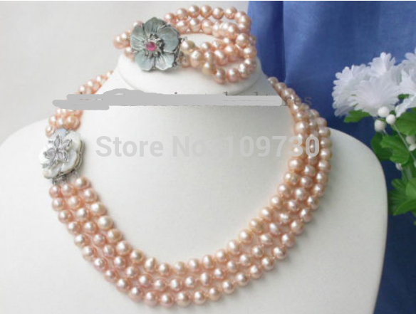 Bijoux 00749 3 brins 9mm Rose Collier de perles Bracelet ensemble (A0423)