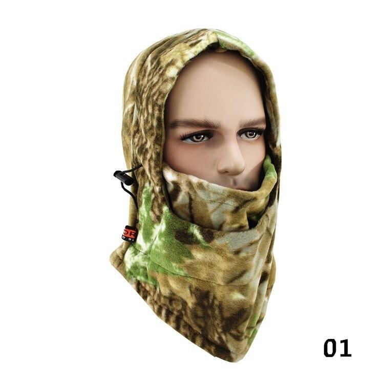 Зимняя шапка для лица и шеи, флисовая камуфляжная шапка, Балаклава для походов и верховой езды, лыжная и охотничья теплая шапка, Ветрозащитная маска - Цвет: A-01