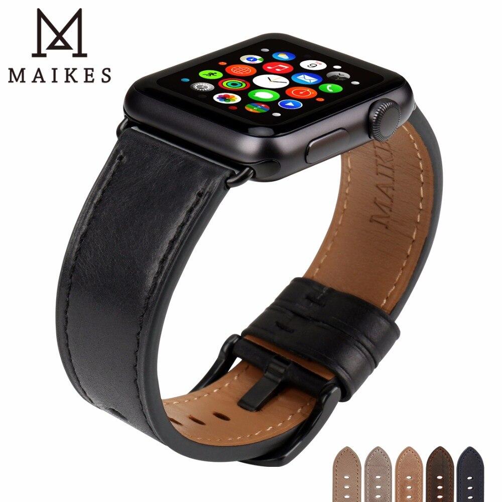 MAIKES En Cuir Montre Bracelet Remplacement Pour Apple Montre Bande 44mm 40mm Série 4 & iWatch 42mm 38mm Série 3 2 1 Bracelets