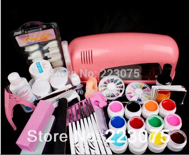 New Hot Pro 9W UV GEL Pink Lamp & 12 Color UV Gel Nail Art Tool Kits Sets лодочный мотор sea pro f 9 9s new