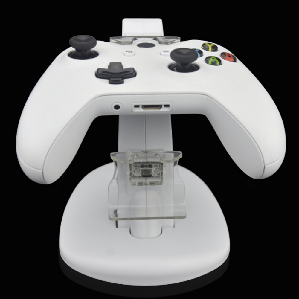 Dual USB Charging Charger Dock Stand Cradle Docking Station for XBOX ONE Game Gaming Console Controller White