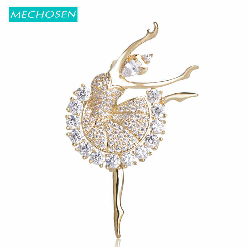 MECHOSEN Beautiful Ballet Girl Brass Brooches Shiny Full Cubic Zirconia Gold Color hijab pins Accessories Graceful Dancer ouija