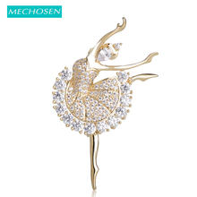 MECHOSEN Beautiful Ballet Girl Brass Brooches Shiny Full Cubic Zirconia Gold Color hijab pins Accessories Graceful Dancer ouija(China)