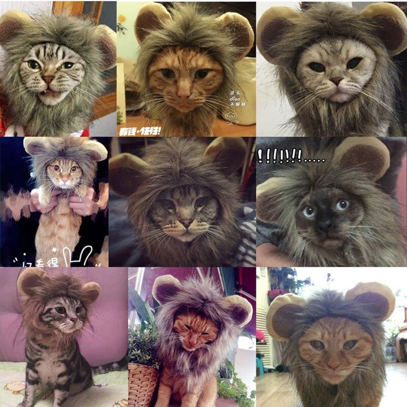 1 ШТ. Новый хэллоуин кошка собак эмуляции лев таким гривы уши шапку парик животных одеваются костюм кошки одежда украшения