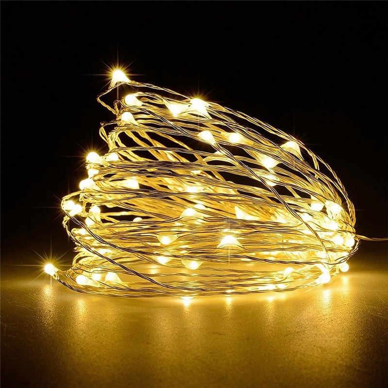 10 м медь 100 светодио дный светодиодная гирлянда 100 светодио дный LED 12V1A адаптер питания водостойкий collorful светодио дный светодиодный свет внутреннее украшение для Рождества