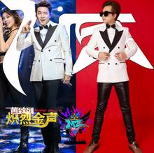 2016 spring summer men's new DJ GD nightclubs bars emcee white double-breasted suits costumes Dress Men jackets Coats S-5XL