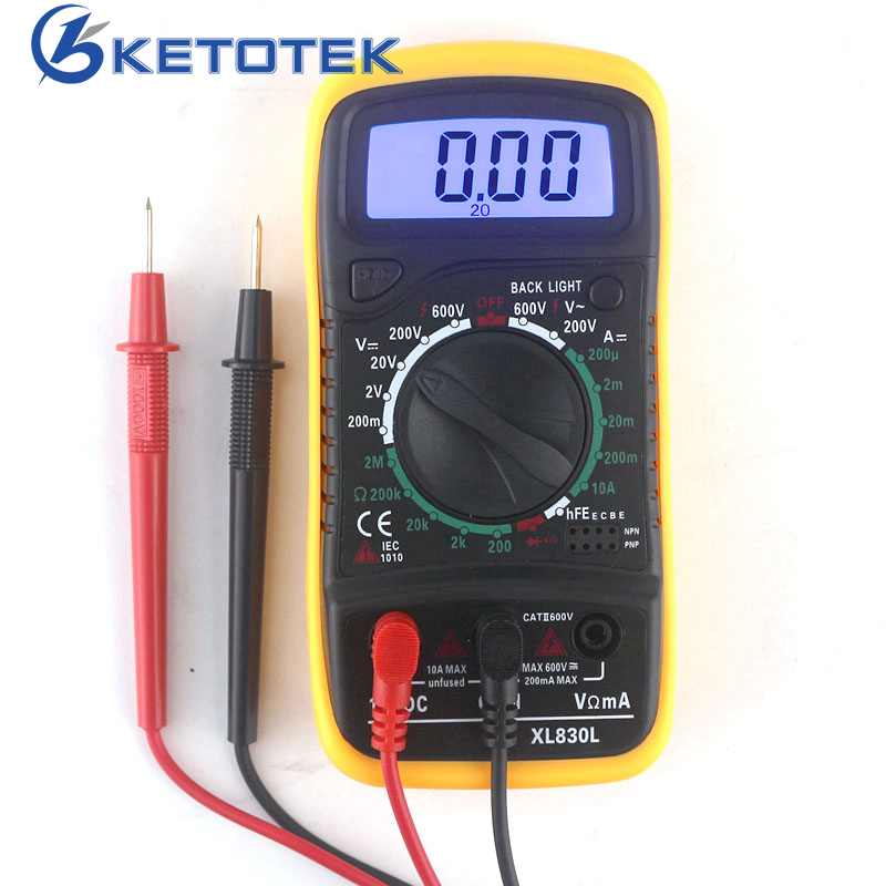 XL830L Digital Multimeter Tragbare Multi meter AC/DC Spannung Amp Strom Widerstand Tester Meter Blauer Hintergrundbeleuchtung
