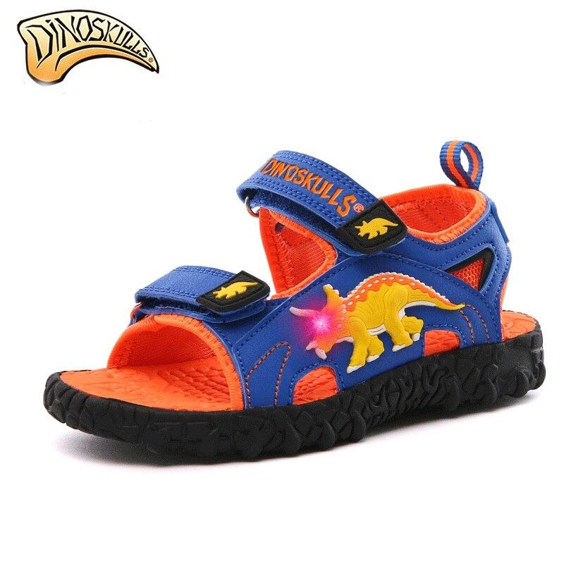 80a26fc77a8d5 Dinoskulls Boys sandals Light up Led Sandals for Kids Boys Dinosaur Summer  Beach Sandals Kids sandalen ...