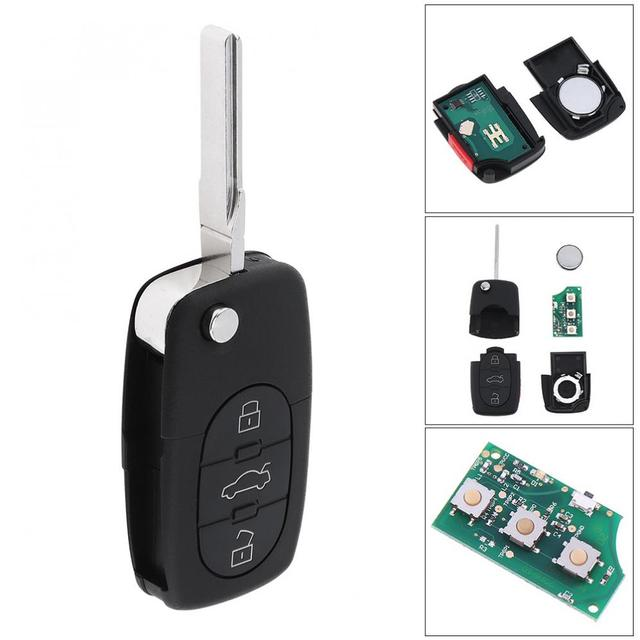 315mhz 4 Ons Flip Uncut Car Entry Replacement Remote Key Fob 4d0837231e For Audi A6 S4 Tt With Battery