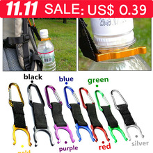 Camping Carabiner Water Bottle Buckle holder Hook Clip Rope For Hiking survival Traveling tools Outdoor Aluminum bag pendant