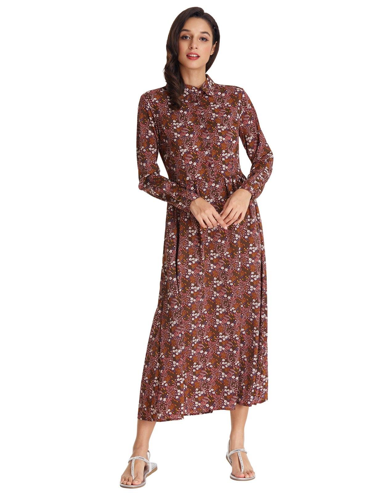 stock vestido Women Vintage floral dress elegant casual Long Sleeve Lapel Collar Bohemian long Maxi Dress Vacation Spring Autumn
