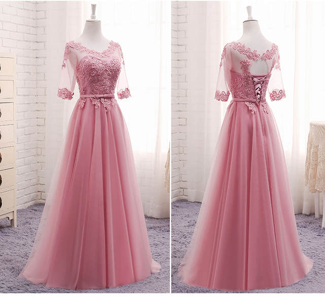 MNZ609 Lace up Bridesmaid Dresses Long 2018 new gray champagne Sister group  gown host party 915e31684a10