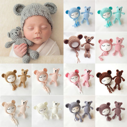 Cute Newborn Baby Toddler Infant Bear Knit Beanie Cap+Bear Toy Prop Photography Puppets Lovely