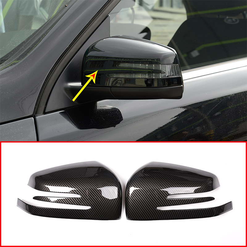 2pcs Carbon Fiber Car ABS Side Rearview Mirror Cap Cover Trim For Mercedes benz ML GL 2013 2016 GLE GLS Class 2015 2017|Chromium Styling| |  - title=