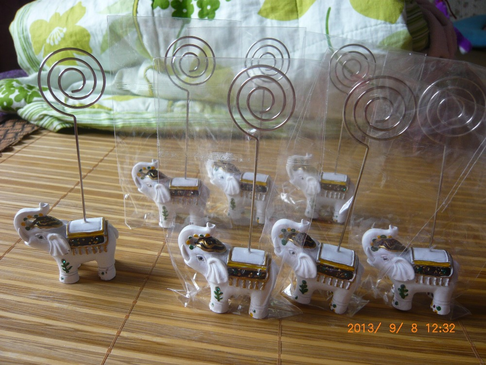 wedding party favor place name card holder White Elephant Place Card Holder table number card