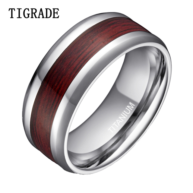 Luxury 8mm High Polished Silver Edges Anium Ring Men Women Wood Inlay Fashion Jewelry Male Wedding