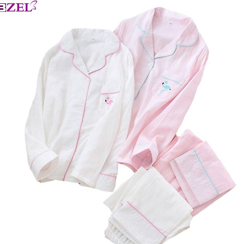 Spring And Autumn New Women Gauze Cotton Simple Style   Pajamas     Set   Flamingo Embroidered Ladies Sleepwear Turn-down Neck Homewear