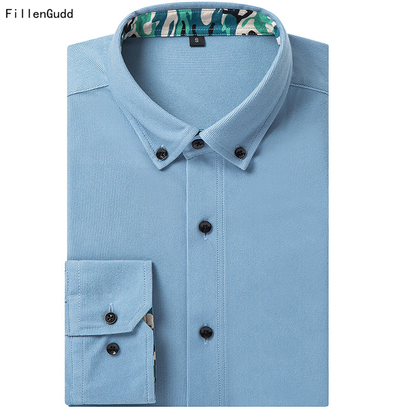 FillenGudd 2018 New Arrival US Size XXXL Sanding Cotton Long Sleeve Men Corduroy Shirts Button Down Casual Male China Clothing