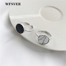 WFSVER korea style 925 sterling silver ring for women round with black/white turquoise ring opening adjustable fine jewelry gift цена