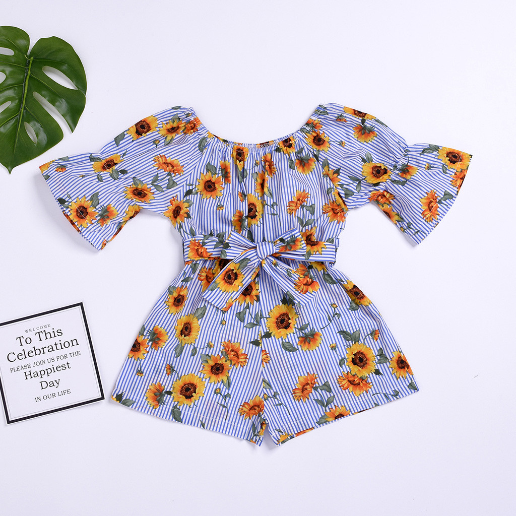 New Born Baby Clothes Toddler Baby Girl Kids Off Shoulder Bell Sleeve Floral Sunflower Printed Bow   Romper   Jumpsuit Kids Clothes