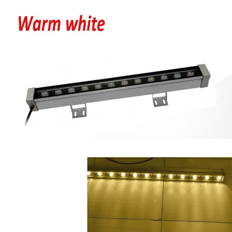 2 шт./лот высокой мощности 12 Вт 46*46*500 мм IP65 водонепроницаемый открытый светодиодный прожектор светодиодный промывная настенная лампа Пейзаж Настенный светодиодный светильник - Испускаемый цвет: Тёплый белый