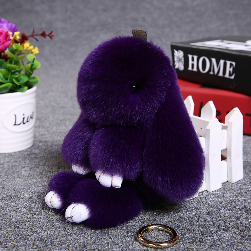 2017 Hot Bunny Keychain Cute Fluffy Pompoms Rabbit Fur Key Chain for Women Girl Bag Car